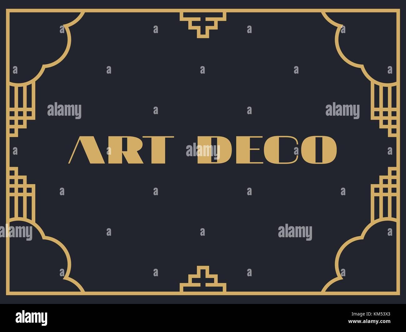 Art déco-Rahmen. Vintage lineare Grenze. Design eine Vorlage für ...