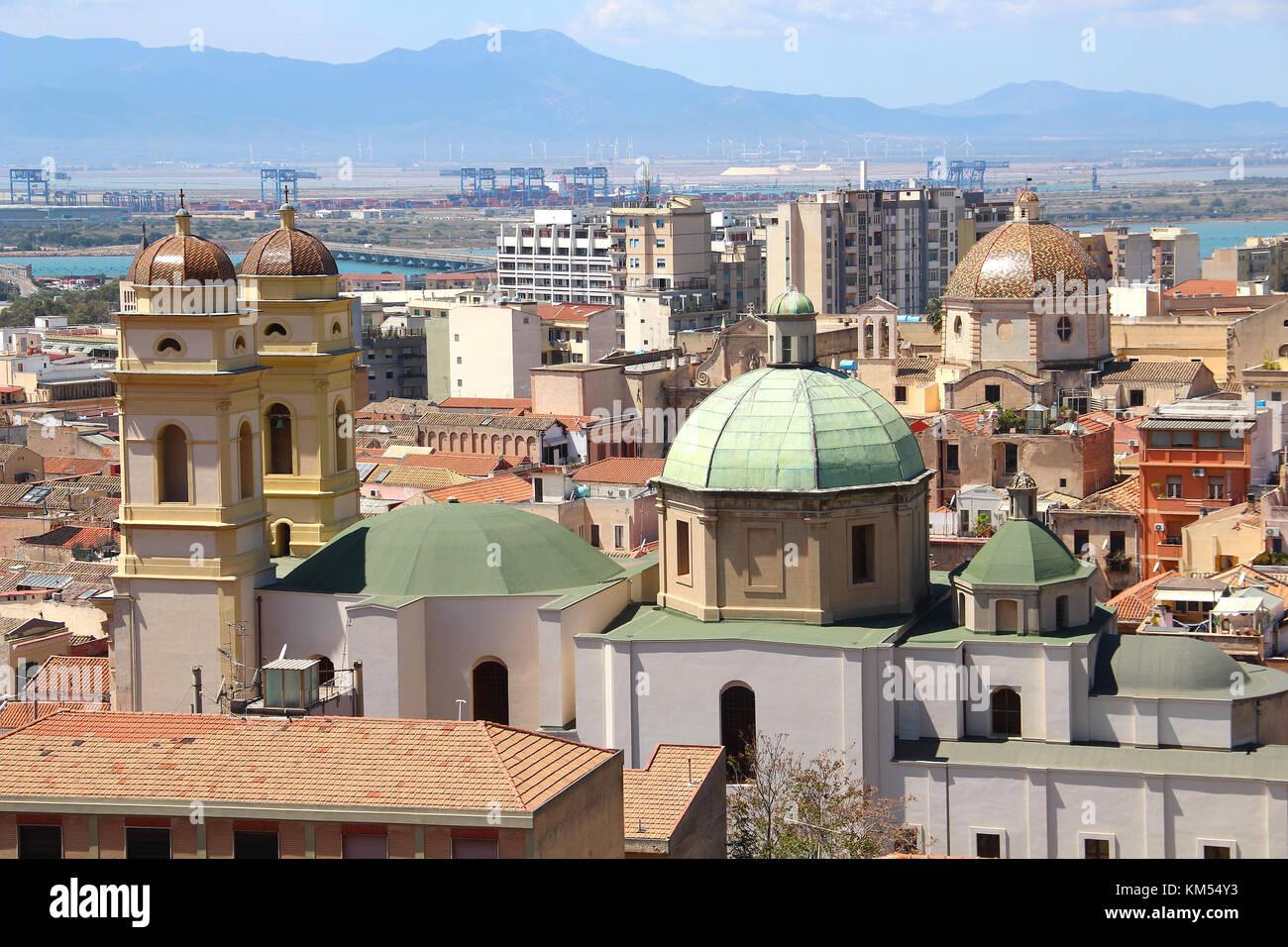 Kirchen un-Altstadt von Cagliari, Sardinien, Italien Stockbild