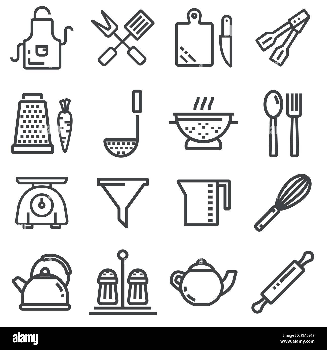 Moderne thin line Symbole home Geschirr, Haushalts- und Küchengeräte ...