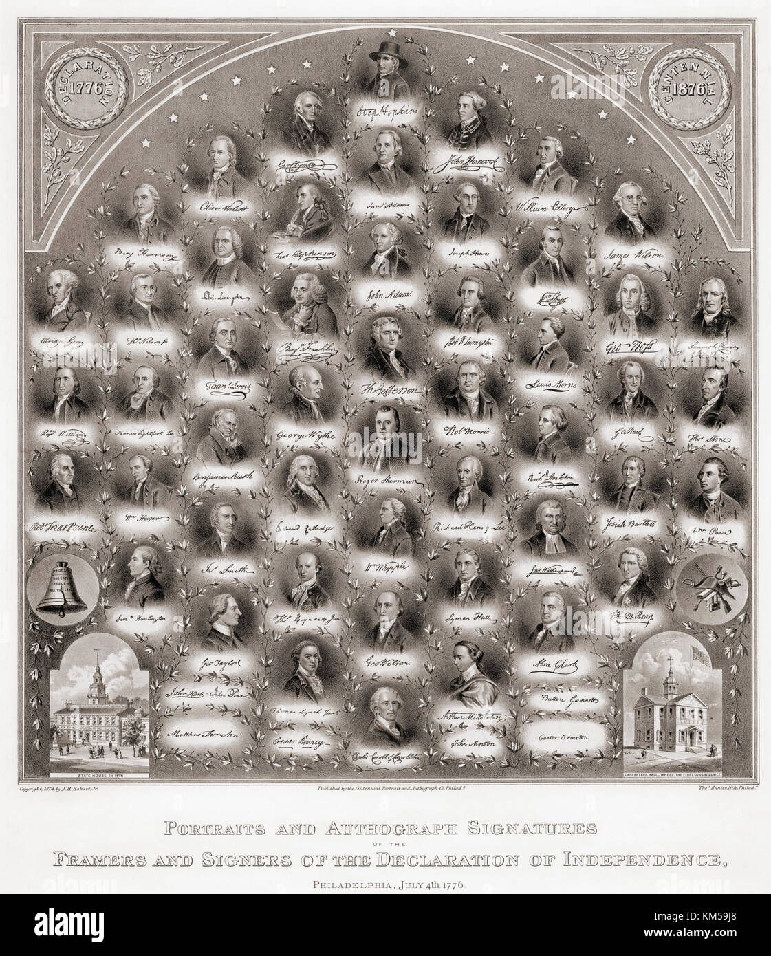 Porträts und Autogramm Unterschriften der Verfasser und Unterzeichner der Amerikanischen Unabhängigkeitserklärung Stockbild