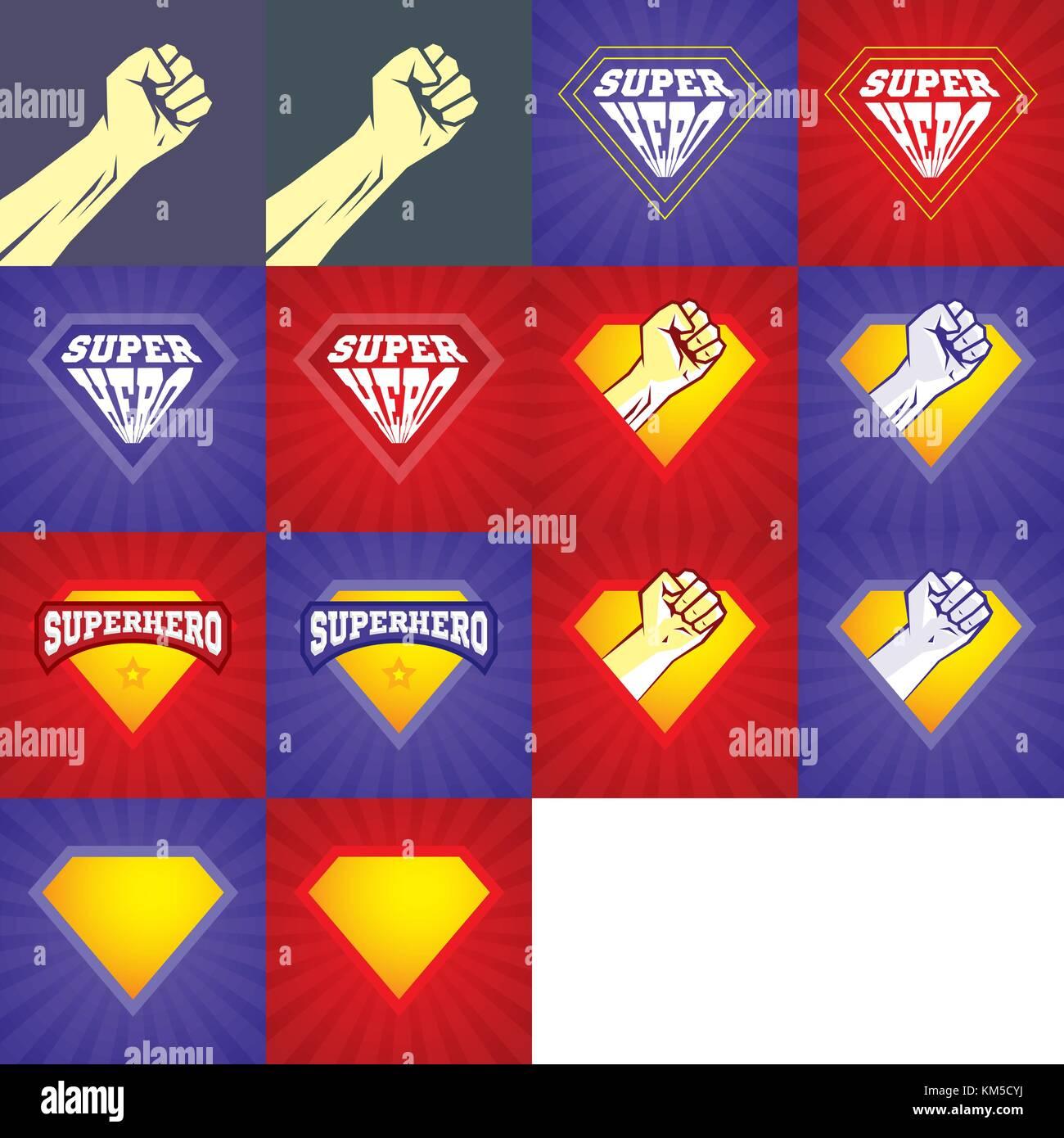 Superhelden logo-Element Vorlage. Vektor Superhelden Symbol Vektor ...