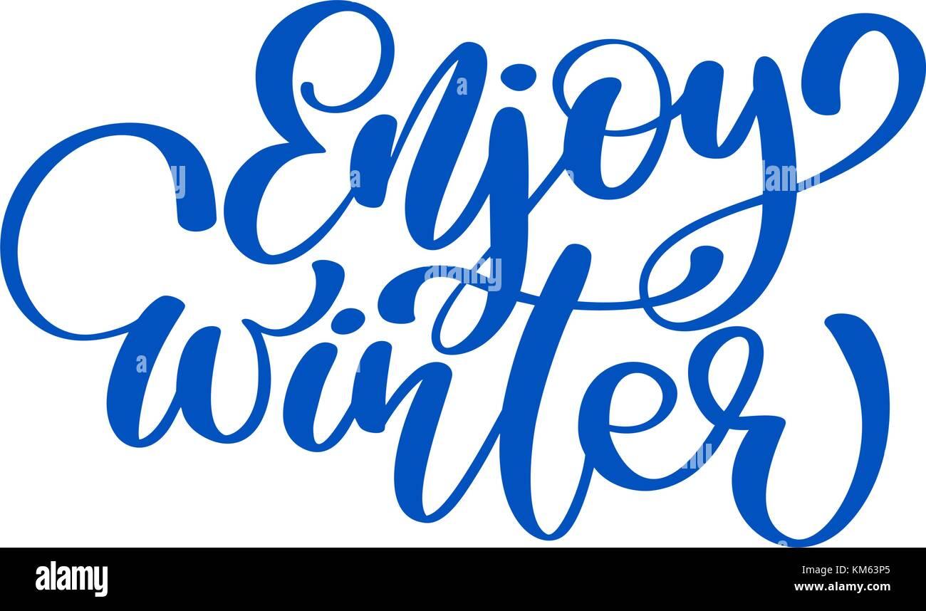 Kalligraphie genießen Sie den Winter frohe Weihnachten Karte mit ...
