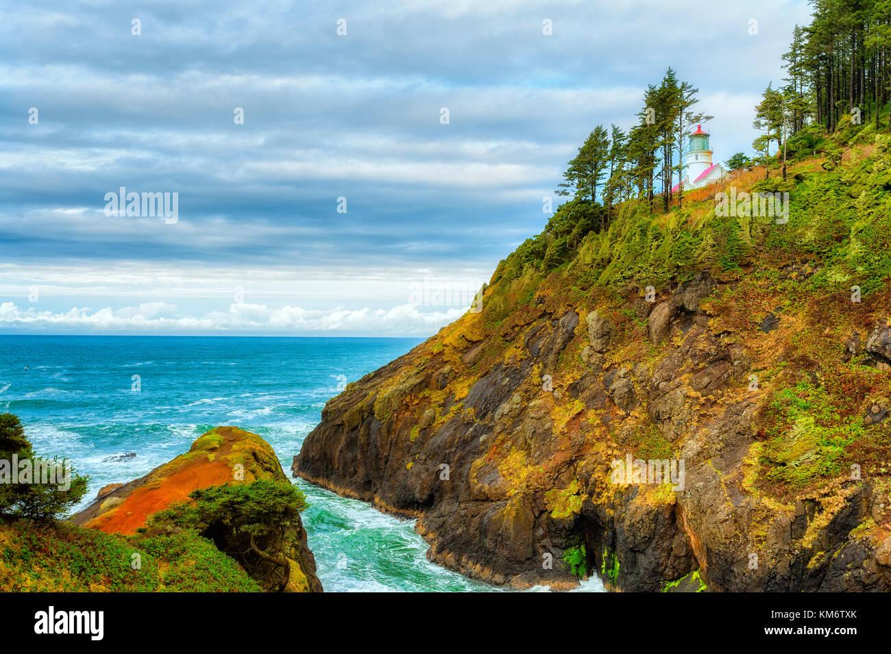 Teufel Winkelstück am heceta Leuchtturm in der Nähe von Florence, Oregon auf der Oregon Küste Stockbild