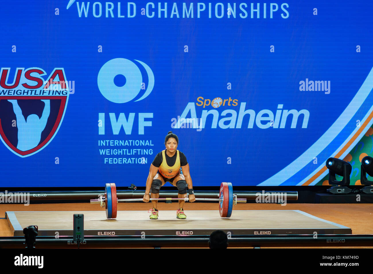 Anaheim, Nov 30: 2017 Escobar guerrero Maria Alexandra in international weightlifting Federation World Championships Stockbild