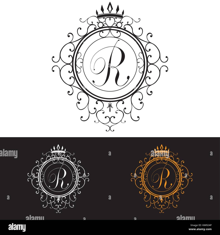 Buchstabe r. Luxury logo Vorlage blüht kalligrafischen elegante ...