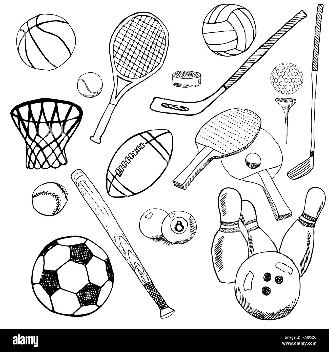Sport Balle Hand Gezeichnete Skizze Mit Baseball Bowling