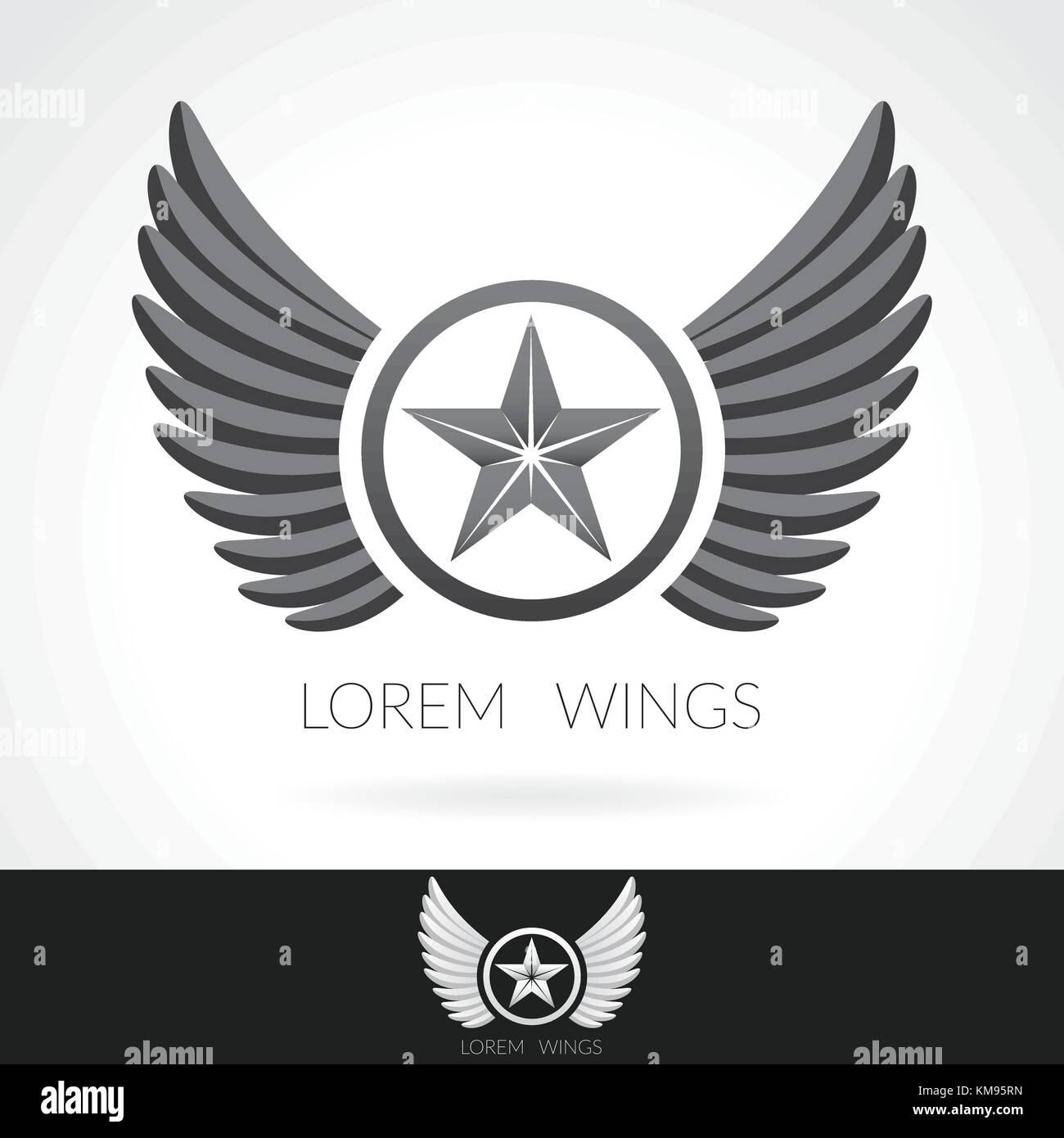 Wing abstrakte logo Schablone mit Stern in der Mitte Abzeichen ...