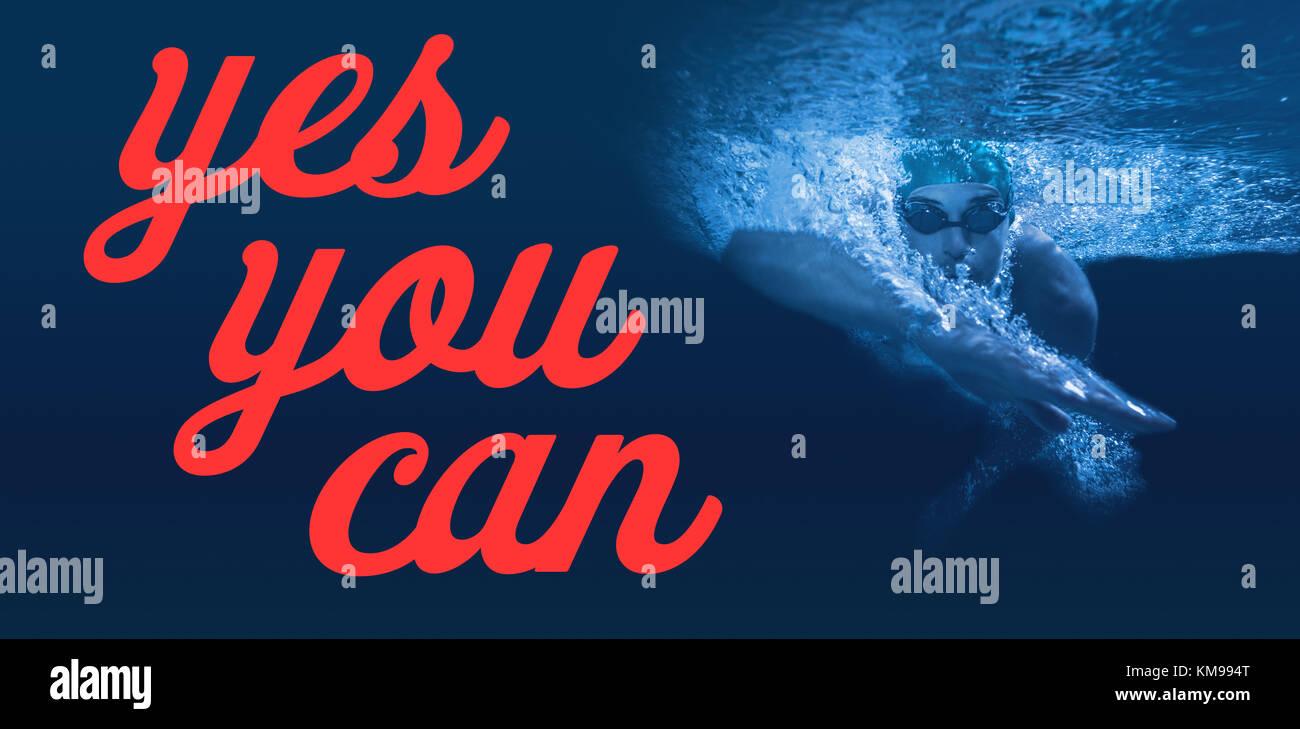 Digital erzeugten Bild von Ja können Sie Text gegen Mann Schwimmen im blauen Wasser Stockbild