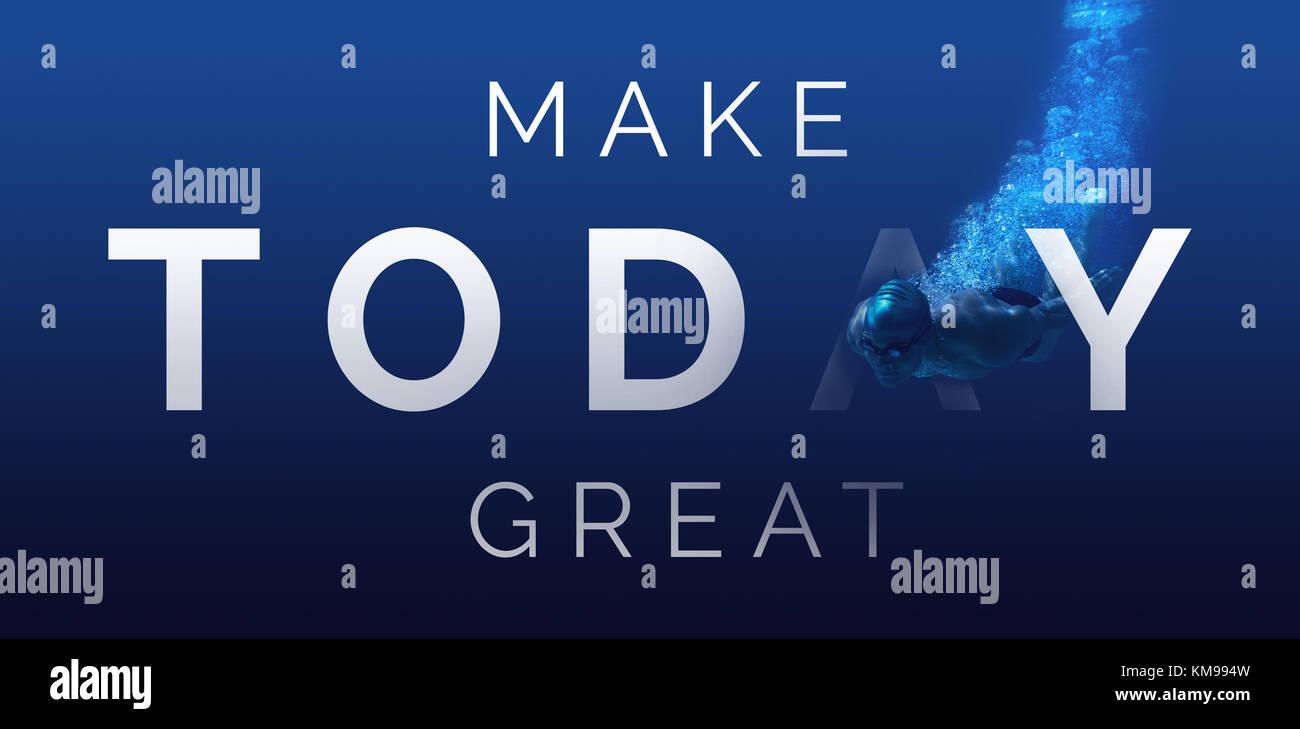 Digital erzeugten Bild von machen heute große Text gegen Mann Schwimmen im blauen Wasser Stockbild