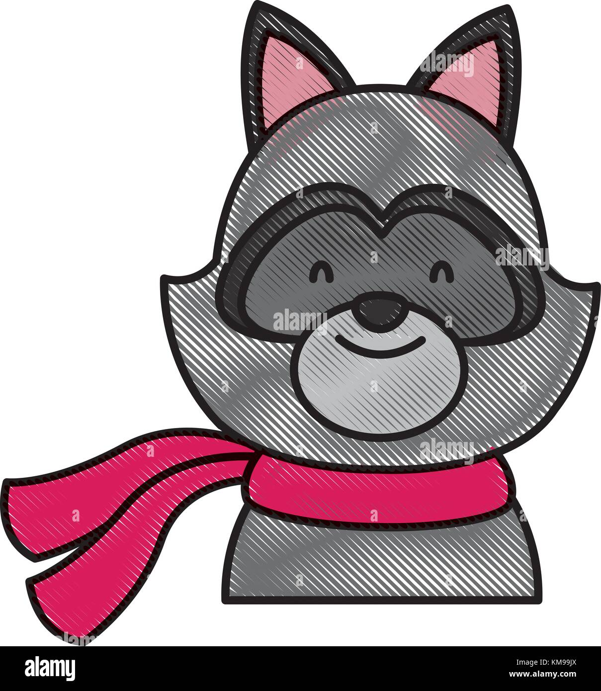 Süße Waschbär mit Schal Cartoon Vektor Abbildung - Bild: 167391586 ...