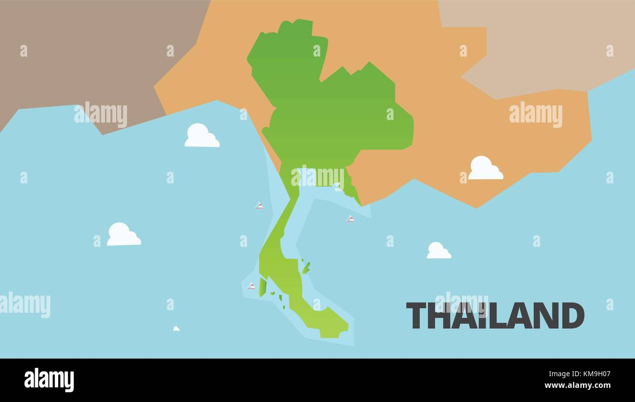 Thailand green map Vector Illustration. Thailand ist voll ...