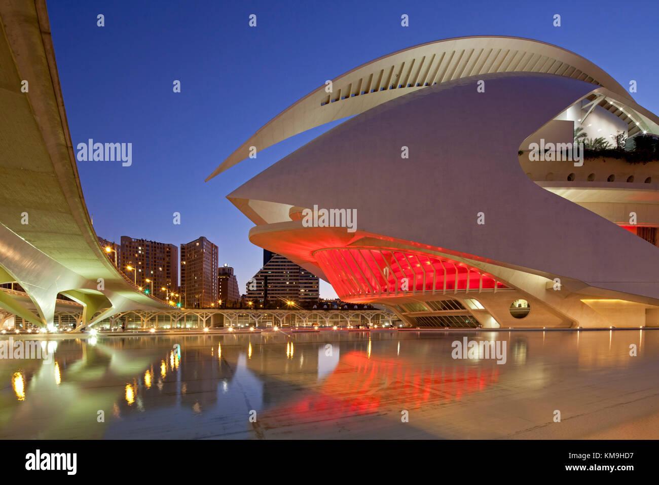 Der Palau de les Arts Reina Sofia von calatrava, Valencia, Spanien Stockbild