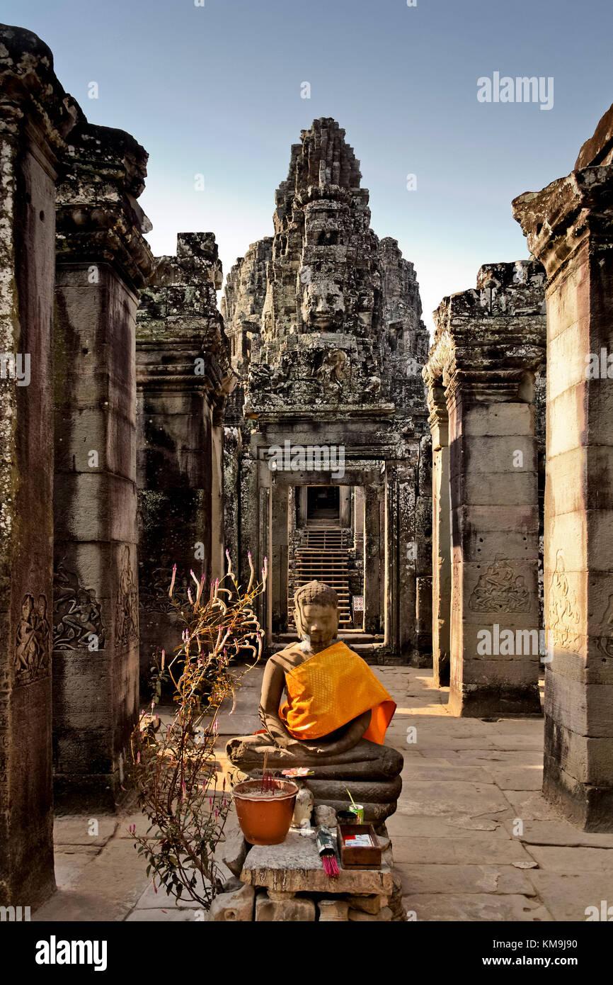 Buddha in Tempel Bayon, Angkor Wat, Kambodscha, Asien, Stockbild