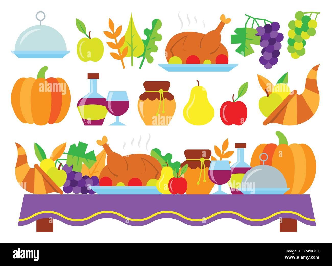 Karte Essen.Farbige Thanksgiving Day Karte Essen Für Thanksgiving Abendessen