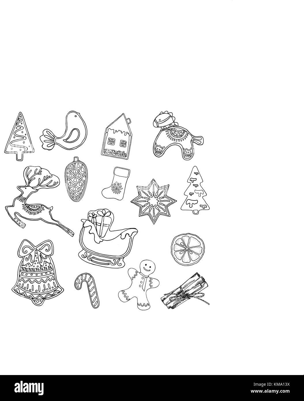Satz von Hand gezeichnete Skizze stil Weihnachten und neues Jahr ...