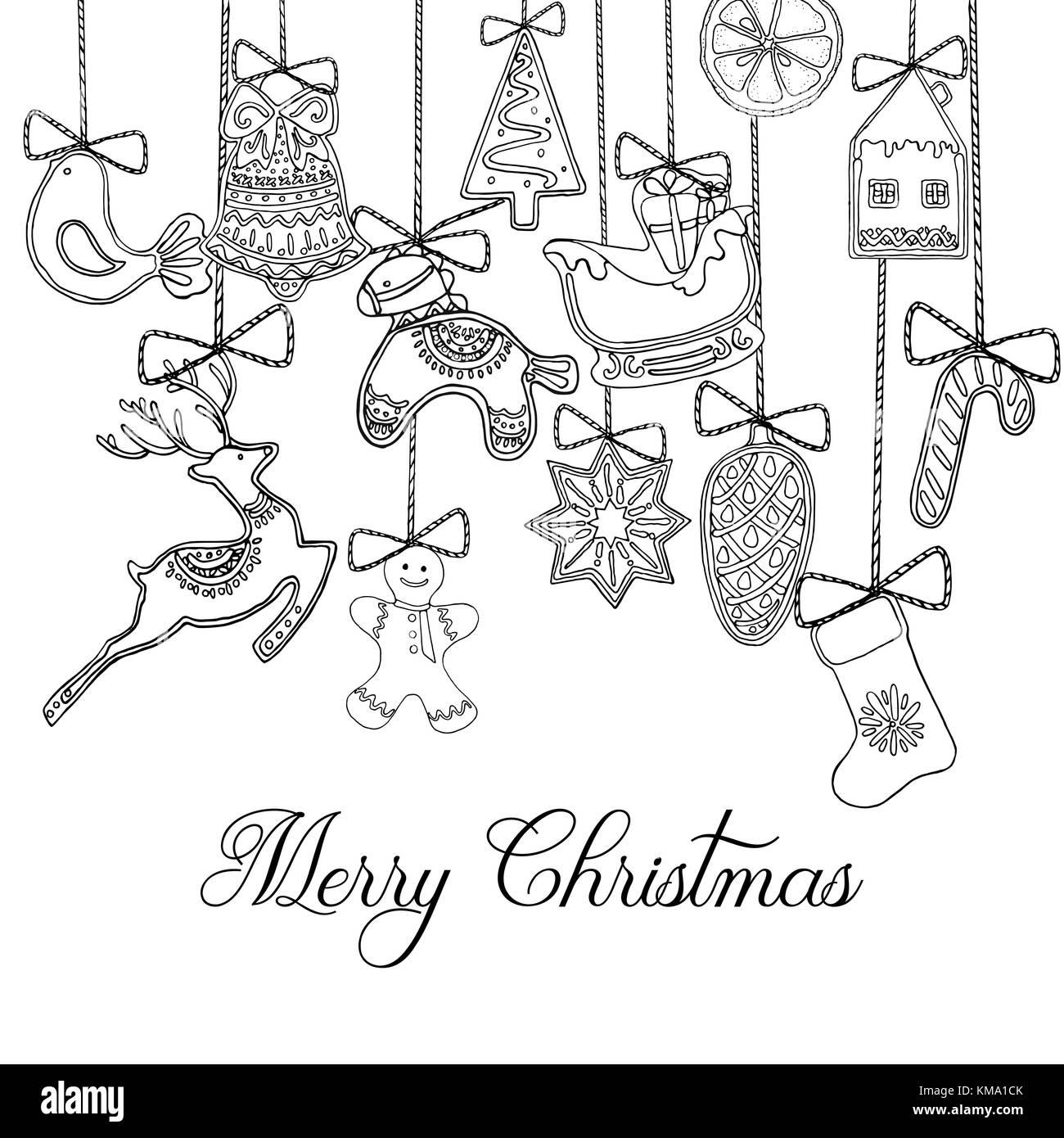 Hand gezeichnete Skizze stil Weihnachten und Neujahr Urlaub Karte ...