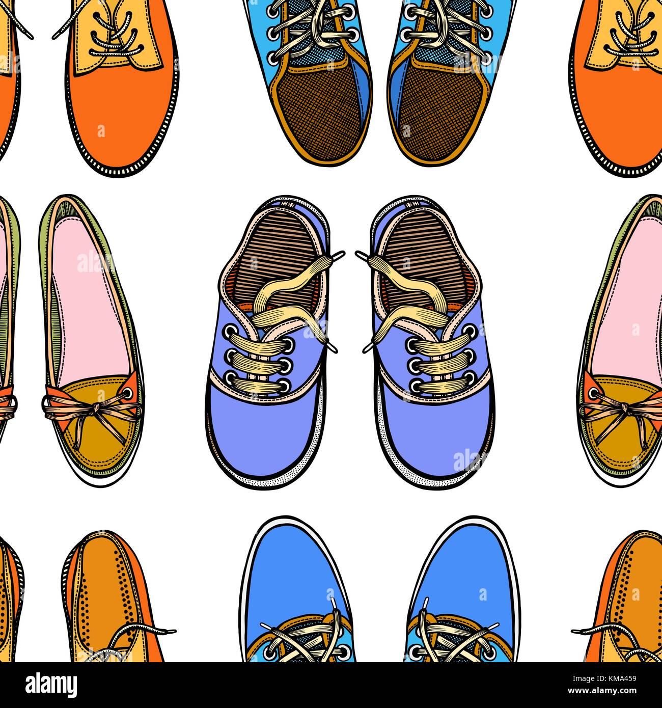 Nahtlose Muster Mit Roten Und Blauen Schuhe Hand Gumshoes