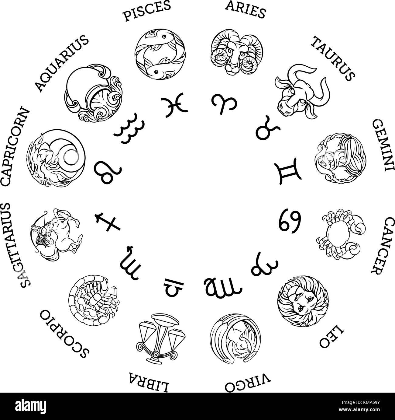 astrologische horoskop sternzeichen sternzeichen symbole vektor abbildung bild 167410935 alamy. Black Bedroom Furniture Sets. Home Design Ideas
