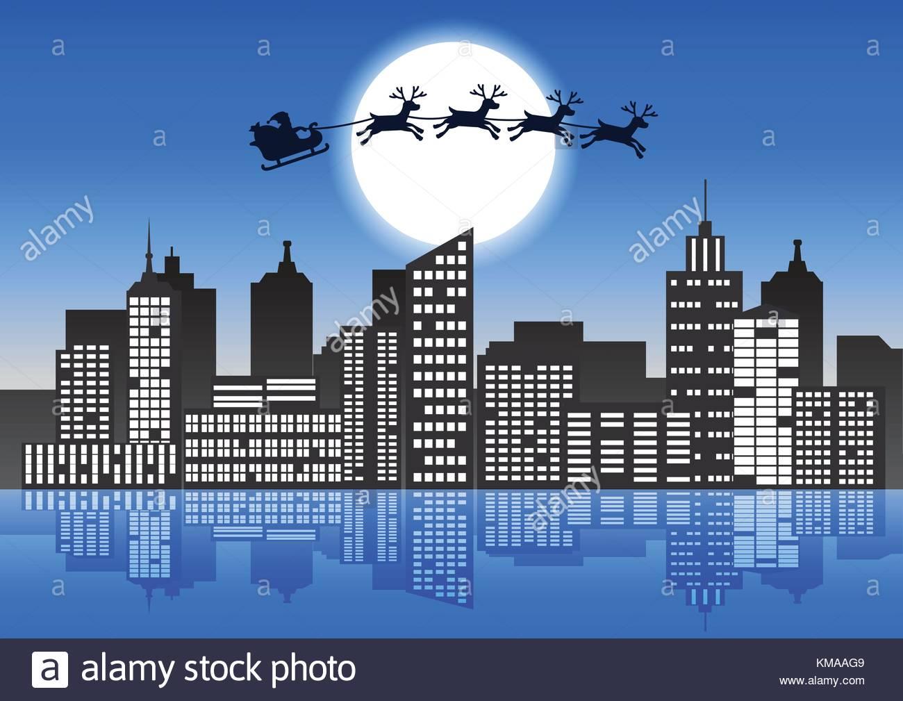 Reindeer sleigh fly stockfotos reindeer sleigh fly bilder alamy - Nasse fenster uber nacht ...
