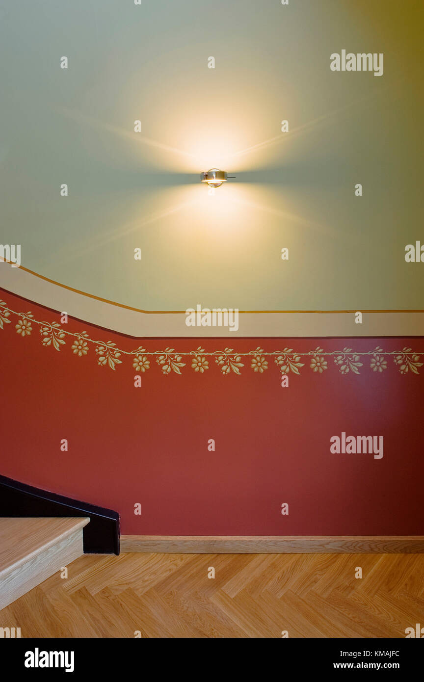 Wand, Dekoration, Grafik, historisch, innen, Haus, Tradition, Oldenburg, Firma, Artikel Leuchte, Treppe, Ornament Stockbild