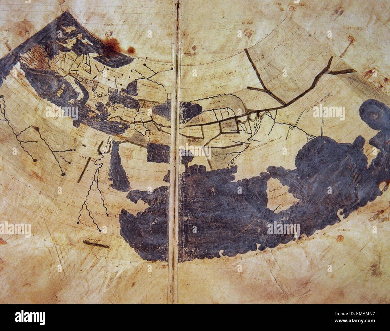 15. jahrhundert Manuskript kopieren von Ptolemäus Weltkarte, von Ptolemäus Geographie rekonstituiert, Stockbild