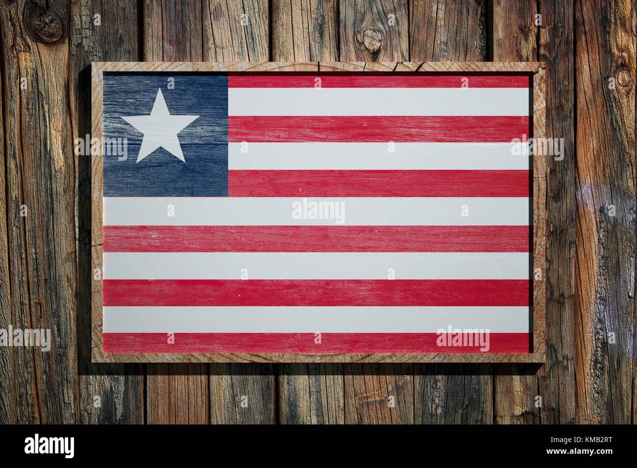 3D-Rendering von Liberia Flagge auf einem Holzrahmen über einen ...