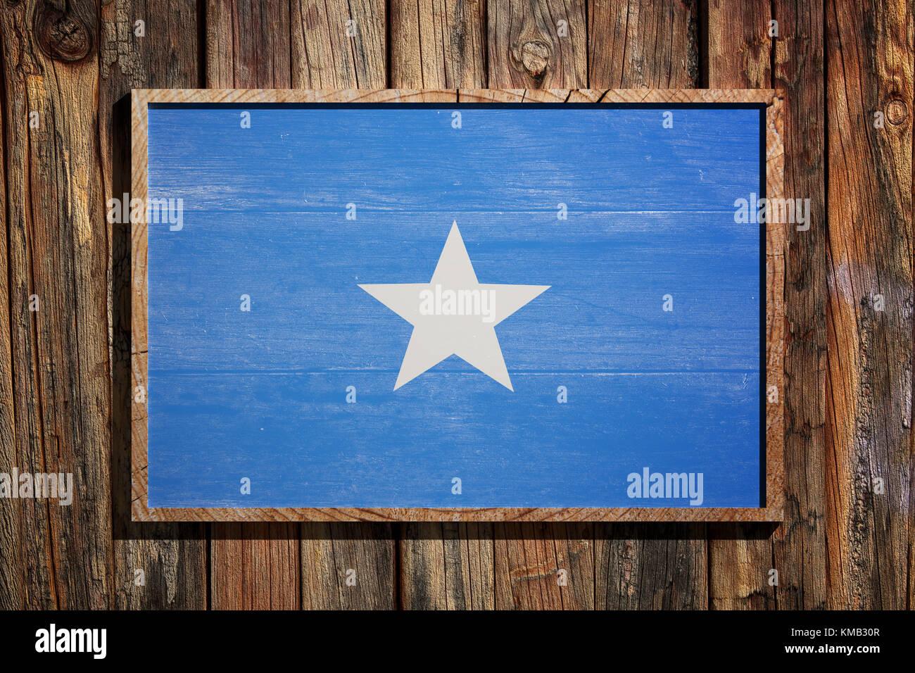 3D-Rendering von somalia Flagge auf einem Holzrahmen über einen ...