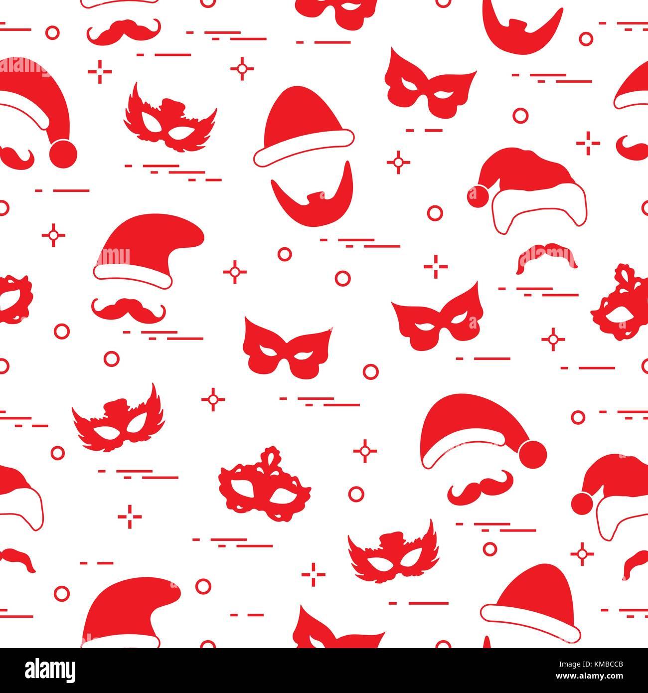 nahtlose muster von verschiedenen karnevals orden masken weihnachten h te schnurrbart bart. Black Bedroom Furniture Sets. Home Design Ideas
