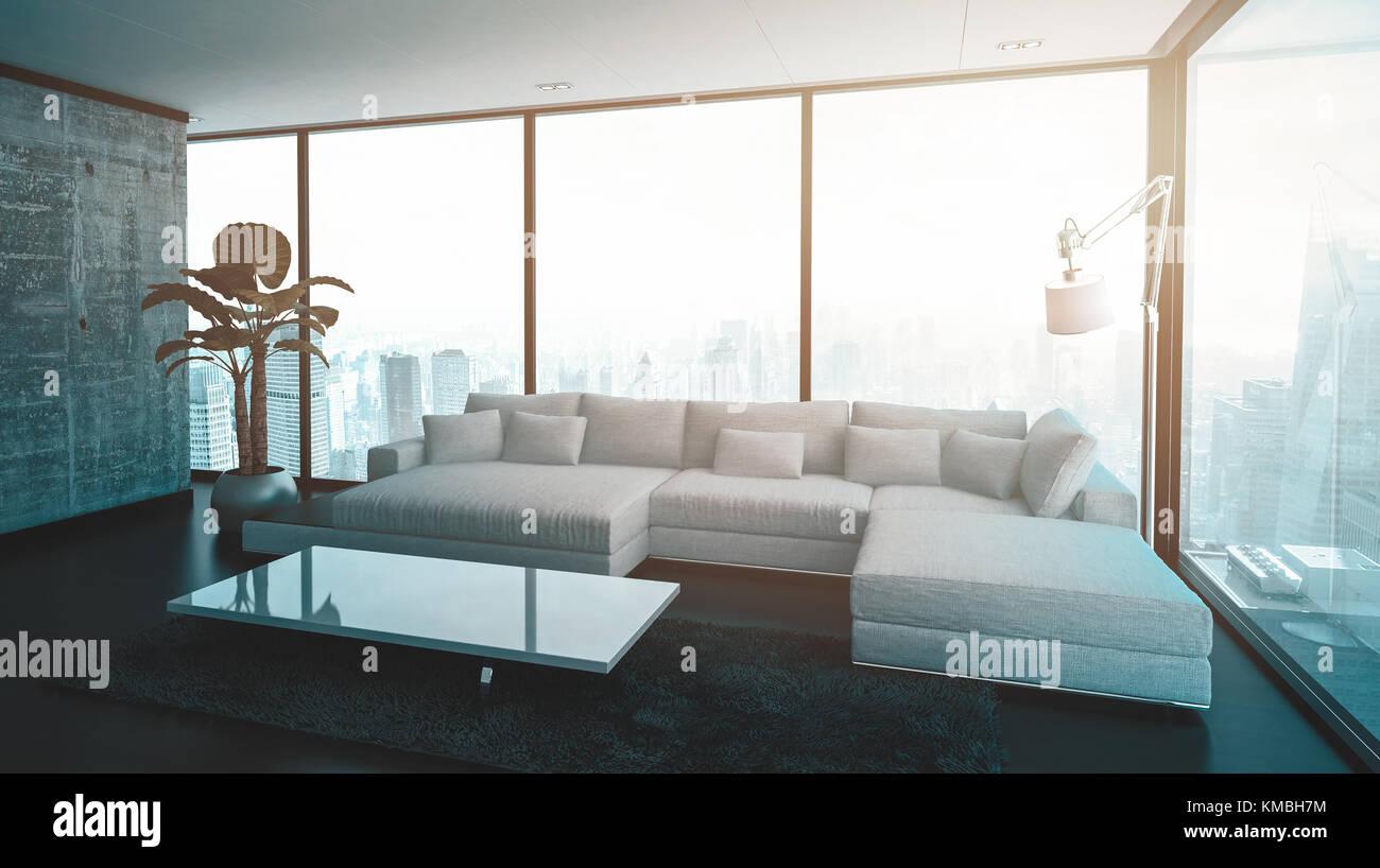 Leere geräumiges Wohnzimmer mit modularen Sofa, Lampe, Tisch und ...
