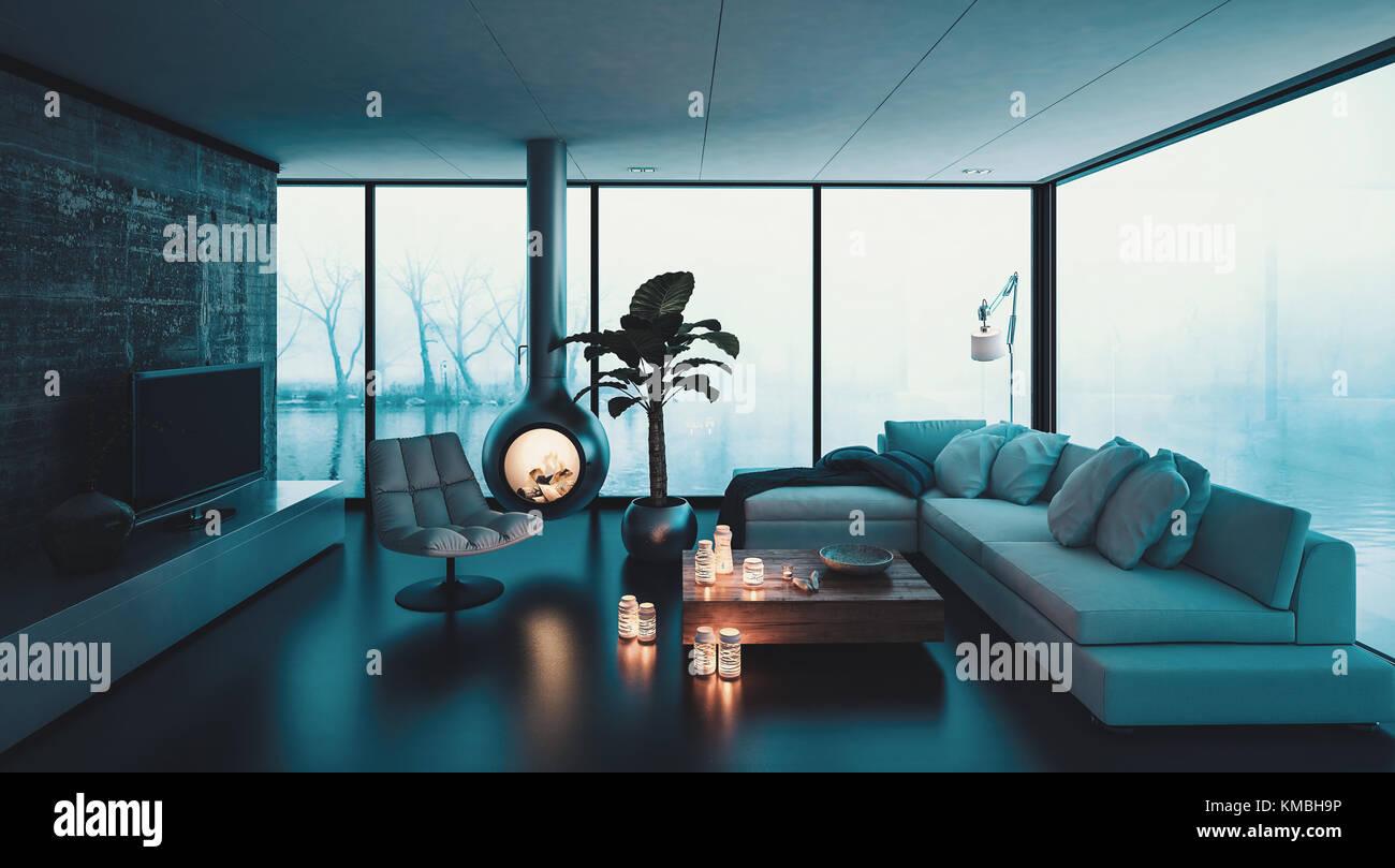 3D-Rendering von kleinen Kamin hängen von der Decke im Wohnzimmer ...