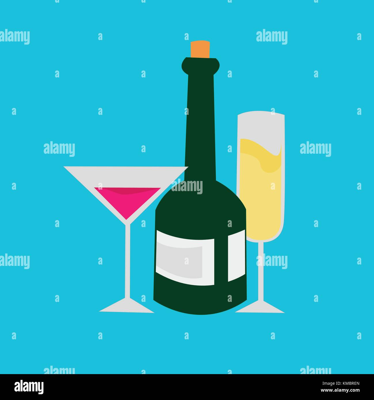 Champagne Cocktail Getränke party Vector Graphic illustration Design ...