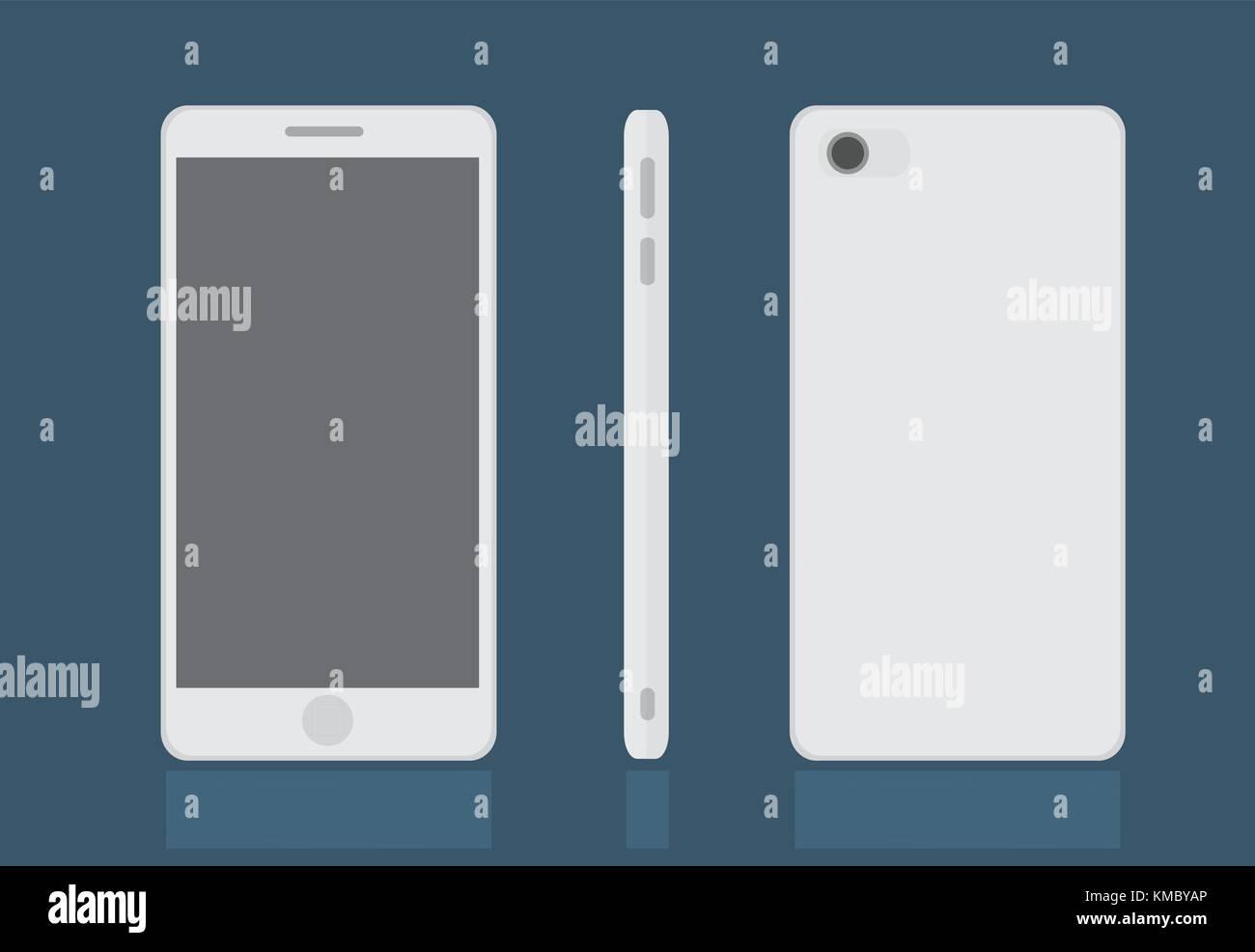 Realistische moderne Smart Phone, Mock up Vector Illustration Stockbild