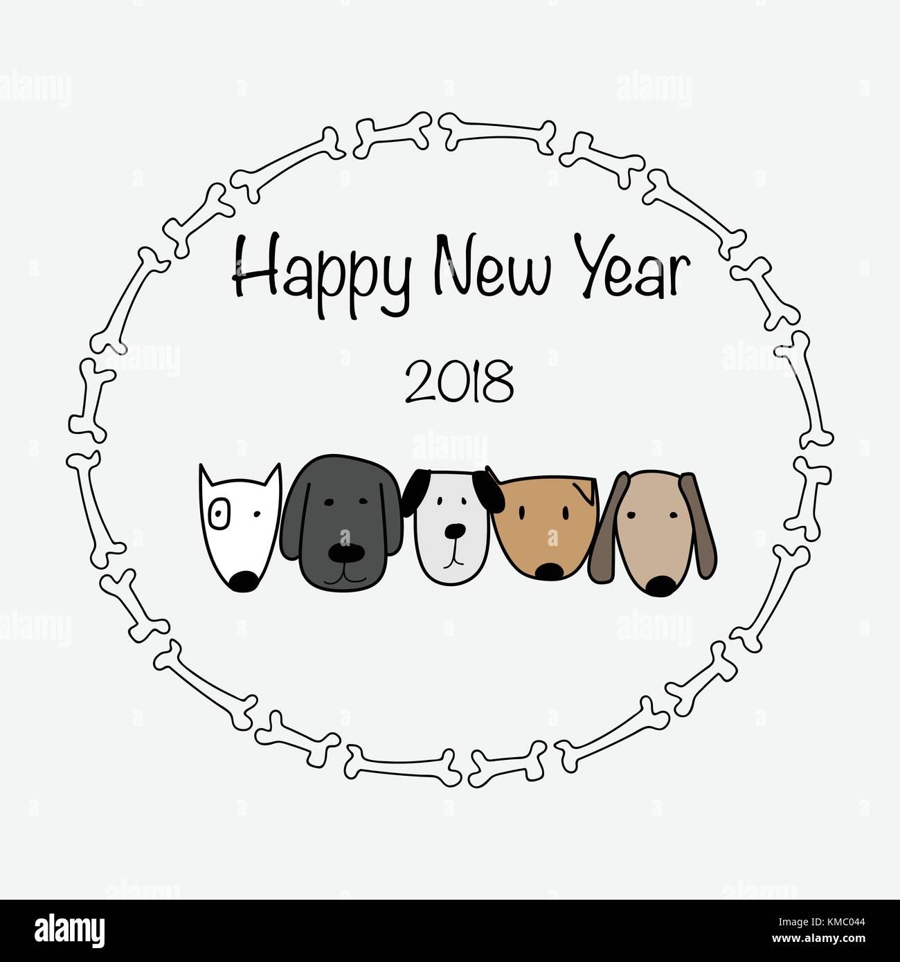 Frohes neues Jahr 2018 mit Knochen Rahmen und niedlichen Hund Vektor ...