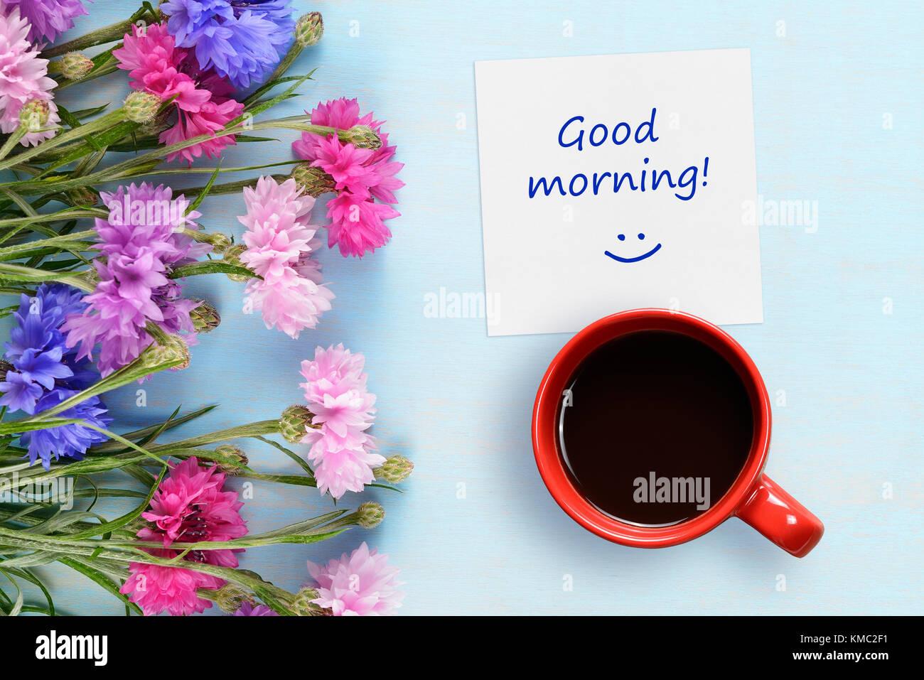 Guten Morgen Wünsche Kaffee Tasse Und Kornblumen Auf Blauem