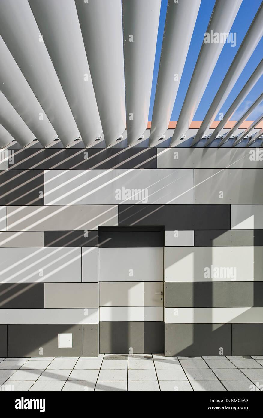 Form, Farbe, Wand, Fliese, Struktur, schwarz, weiß, Lamelle, Sonne Stockbild