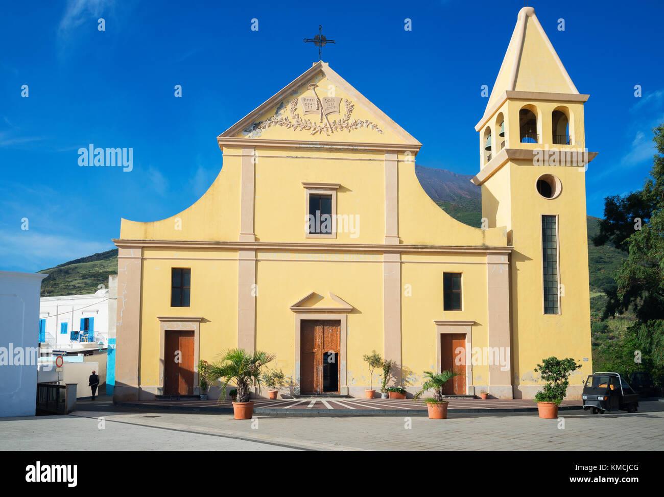 San Vincenzo Ferreri Kirche, Stromboli, Äolische Inseln, Weltkulturerbe der UNESCO, Sizilien, Italien, Mittelmeer, Stockbild