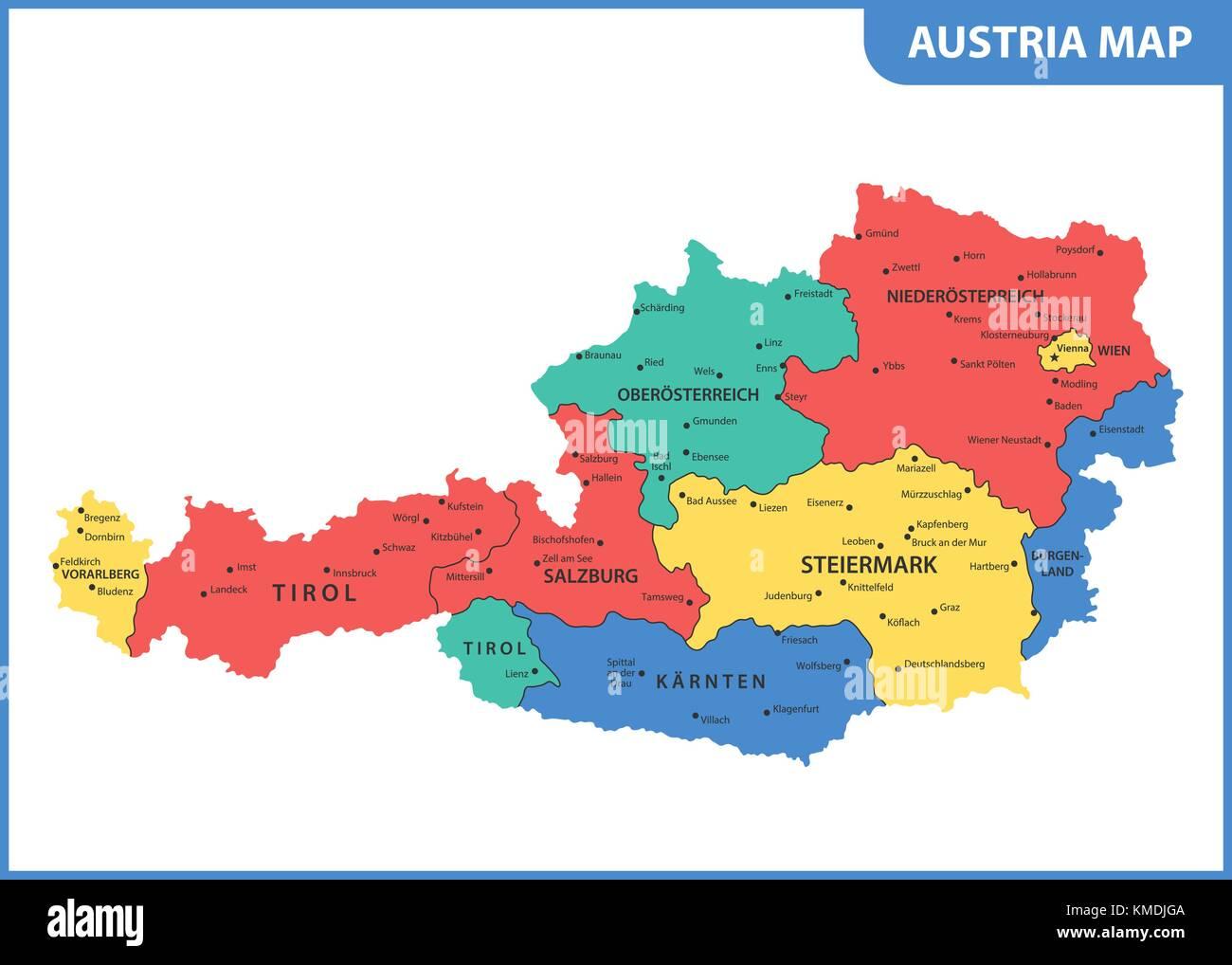 österreich karte regionen Die detaillierte Karte des Österreich mit Regionen oder Staaten  österreich karte regionen