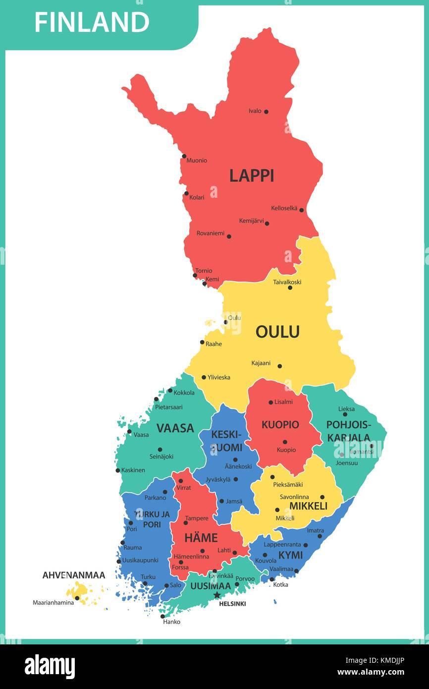 Finnland Karte Regionen.Die Detaillierte Karte Des Finnland Mit Regionen Oder