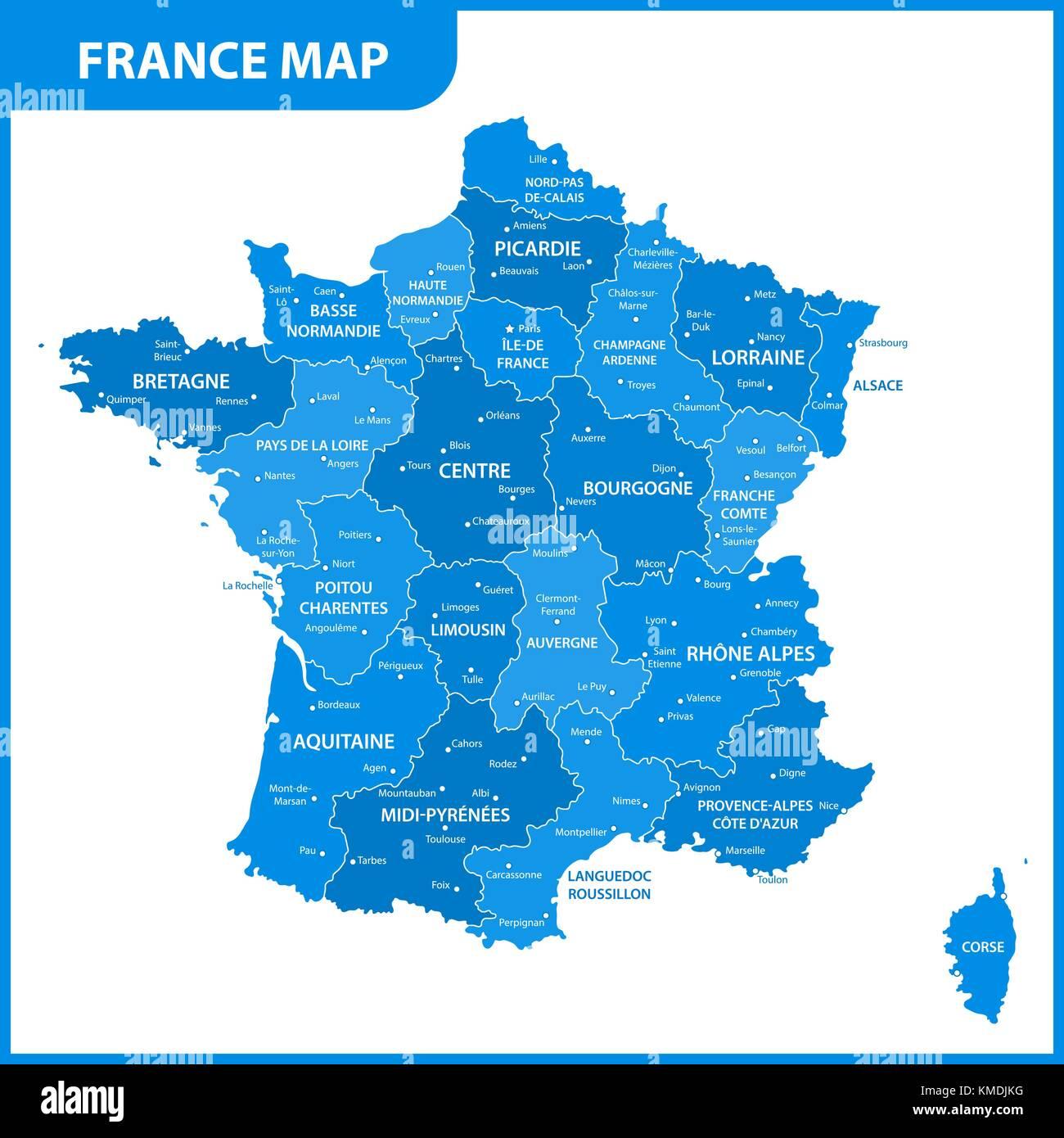 Frankreich Karte Regionen.Die Detaillierte Karte Von Frankreich Mit Den Regionen Oder Staaten