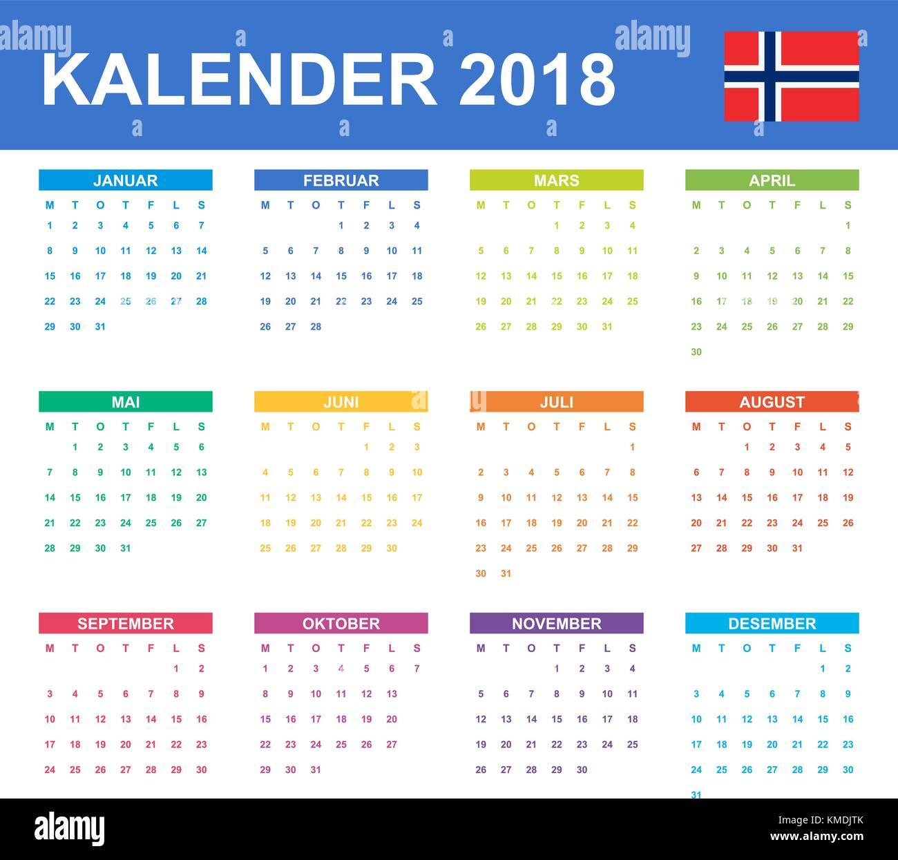 Norwegische Kalender für 2018. Scheduler, Agenda oder Tagebuch ...
