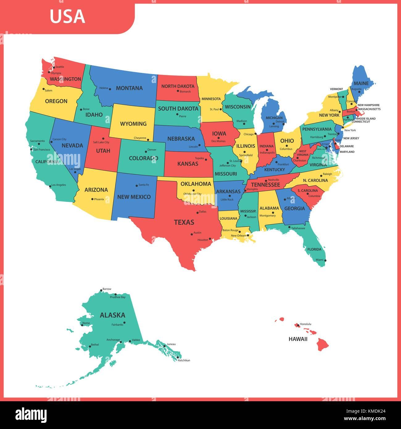 die detaillierte karte der usa mit regionen oder staaten und st dte kapital vereinigte staaten. Black Bedroom Furniture Sets. Home Design Ideas