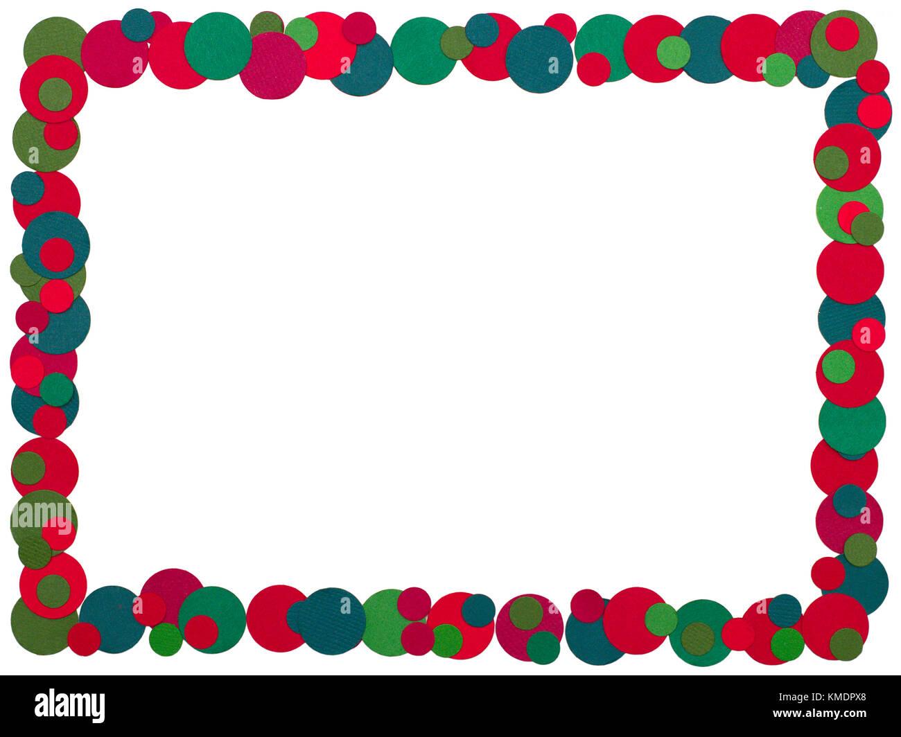 Ein Rahmen aus Punkte eines farbigen mit traditionellen Weihnachten ...