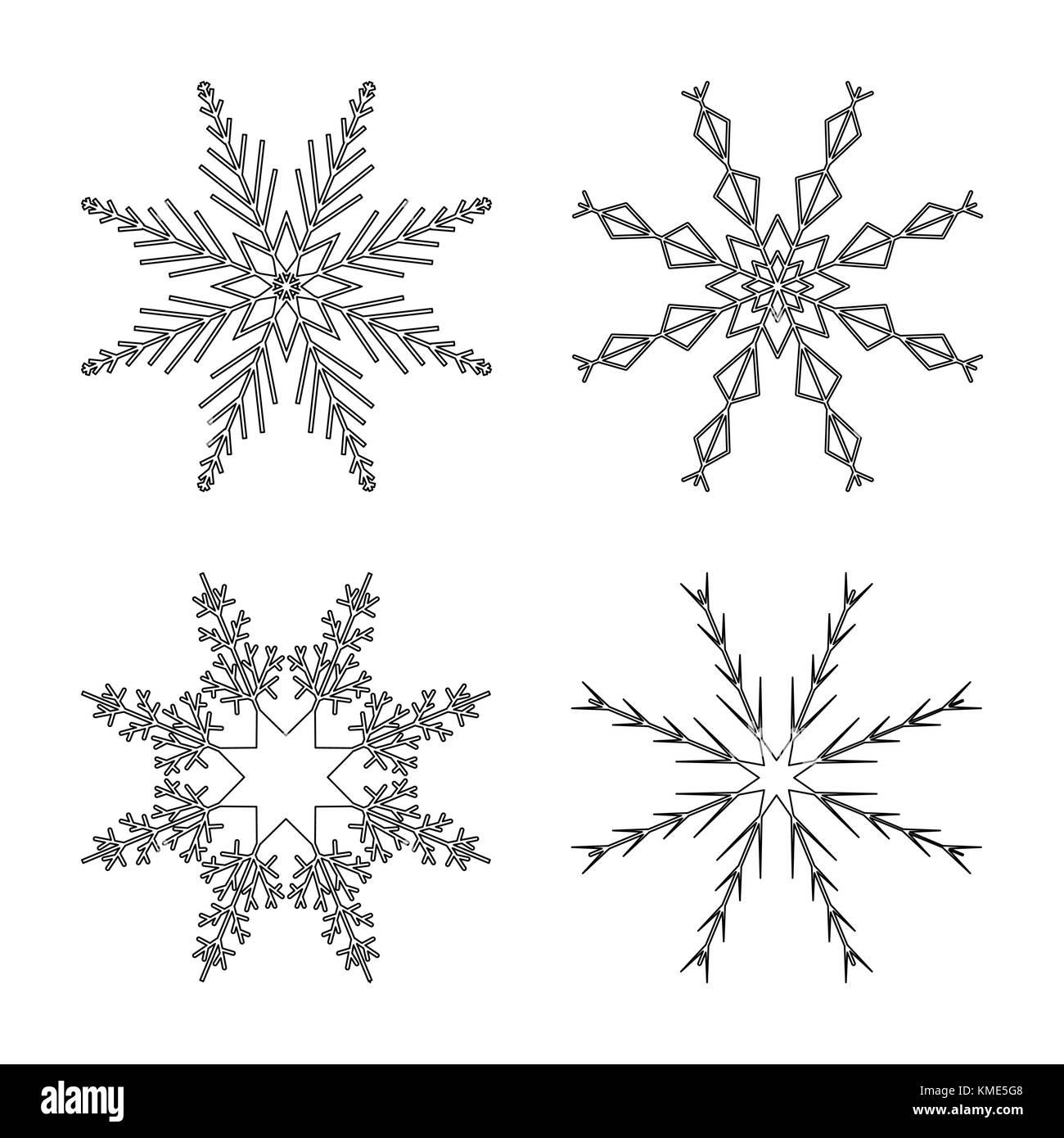 Schneeflocke design Outline für Weihnachten auf weißem Hintergrund ...
