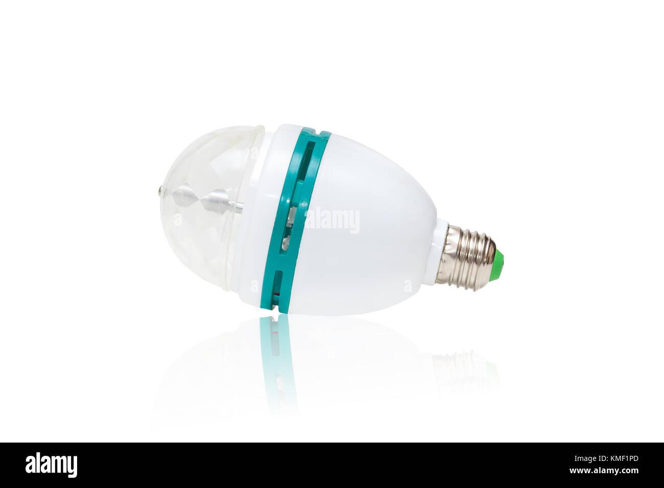 Bunte Auto drehen RGB-LED-Lampe auf weißem Hintergrund mit Reflexion ...