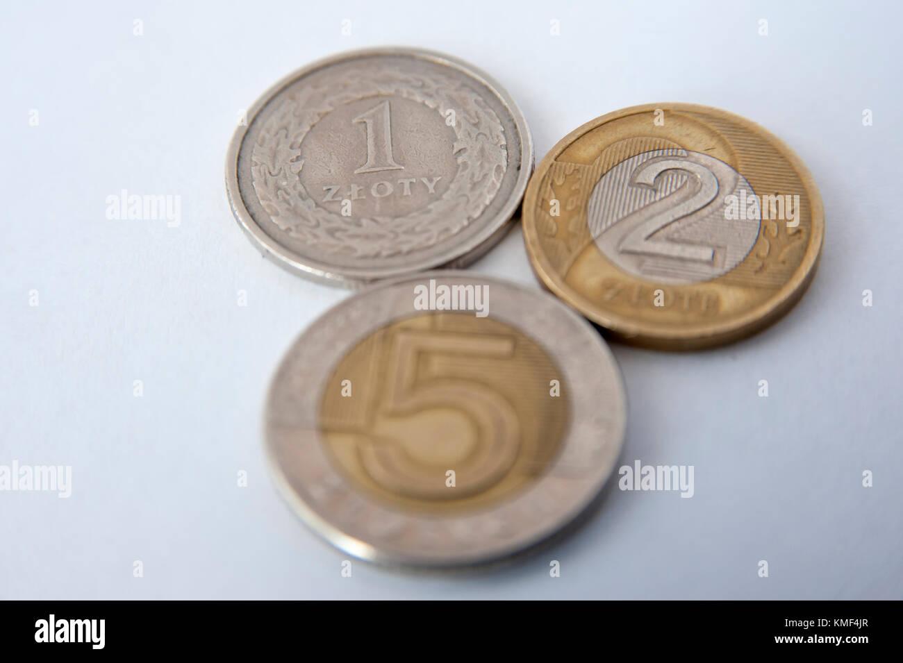 Polnische Währung 5 Zloty Münze 2 Zlote Münze Und 1 Zloty Münze