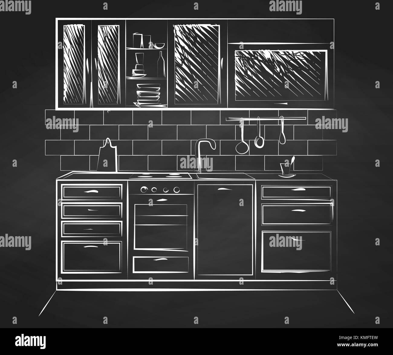 Skizze Küche. Vector Illustration in einer Skizze Stil Vektor ...