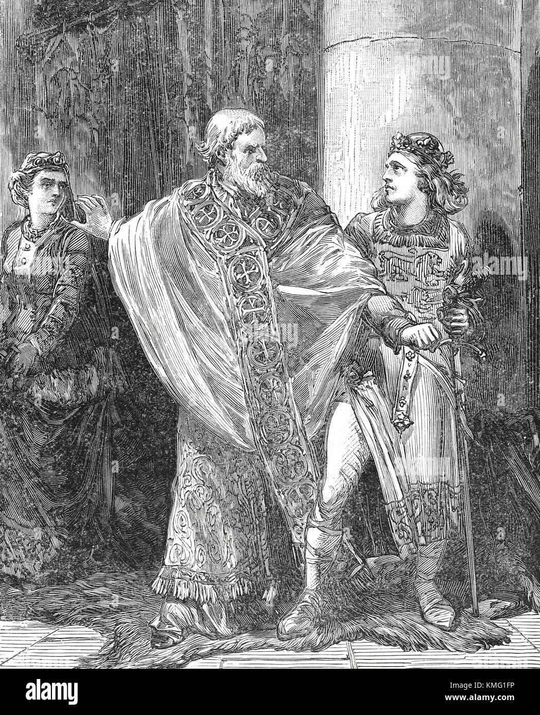 Dunstan strafte edwy in Anwesenheit von elgiva, Krönung Tag, AD 955 Stockbild
