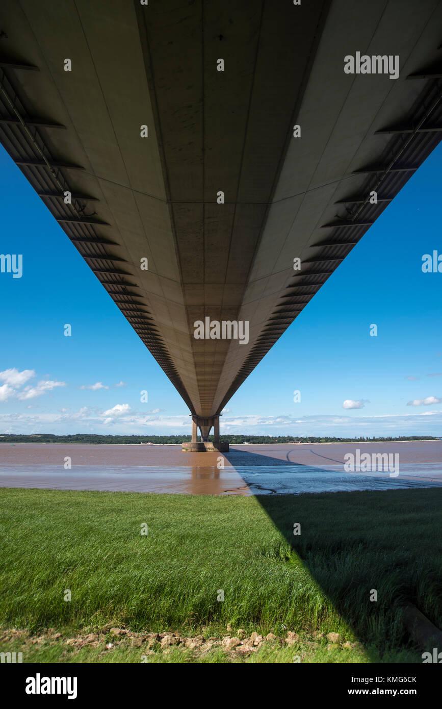 Humber Bridge, Fluss Humber, England, UK. Stockfoto