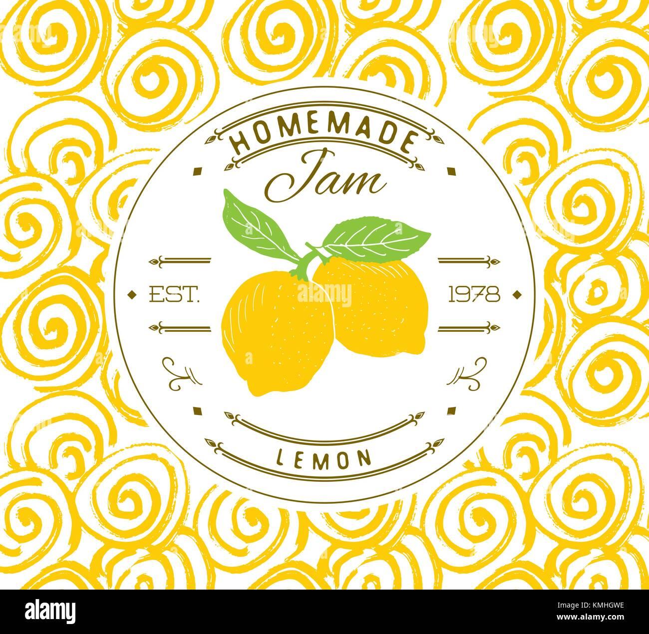 Jam Label Design vorlage. Für Zitronen dessert Produkt mit Hand ...