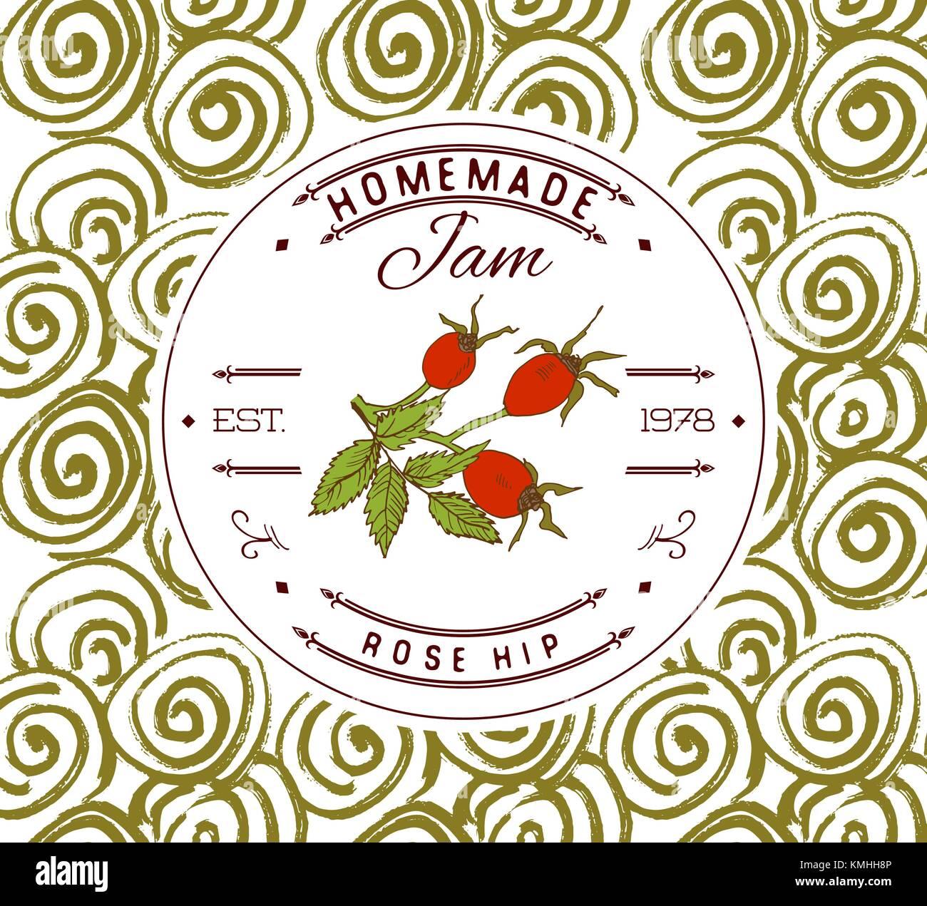 Jam Label Design vorlage. Für rose Hip dessert Produkt mit Hand ...
